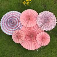 Set Of 6 Colorful Paper Fans Round Wheel Pattern Fiesta Design For Parties Birthdays Barbecues Holidays