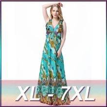 2016 Yaz Artı Boyutu 3XL, 4XL, 5XL, 6XL 7XL Hanımefendiler Seksi V Yaka Backless Elbise Baskı Çiçek Bohem Maxi Plaj Elbiseler Robe