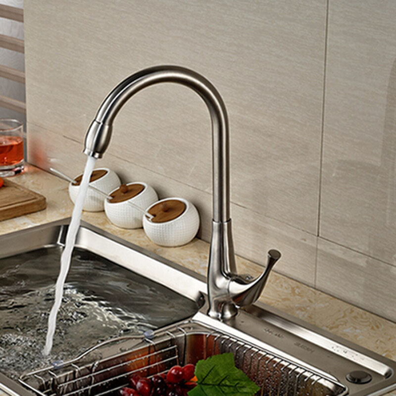 Contemporary Brushed Nickle Kitchen Faucet One Handle Mixer Faucet