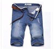 Джинсы шорты мужчин колен разорвал синие джинсы homme