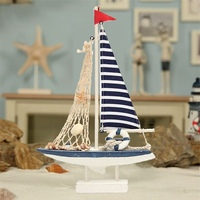 Modern Mediterranean Style Marine Nautical Wooden Blue Sailing Boat Ship Wood Crafts Ornaments Party Home Room