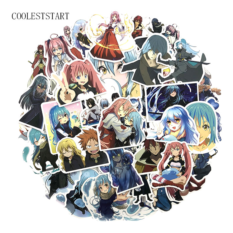 50 Pcs/set That Time I Got Reincarnated As A Slime Stickers For Laptop Motorcycle Luggage Skateboards Diary Toys Anime Stickers