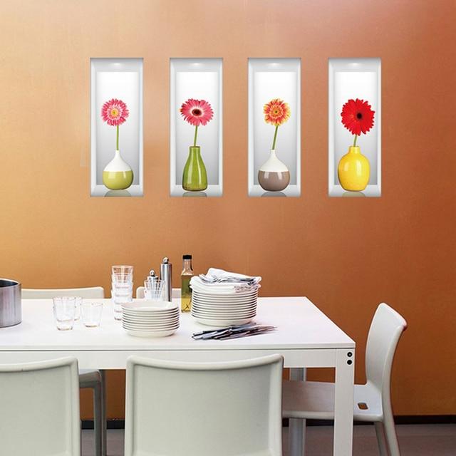 3d wallpaper art 4 pz vasi di fiori set adesivi murali per ... - Adesivi Murali Per Camera Da Letto