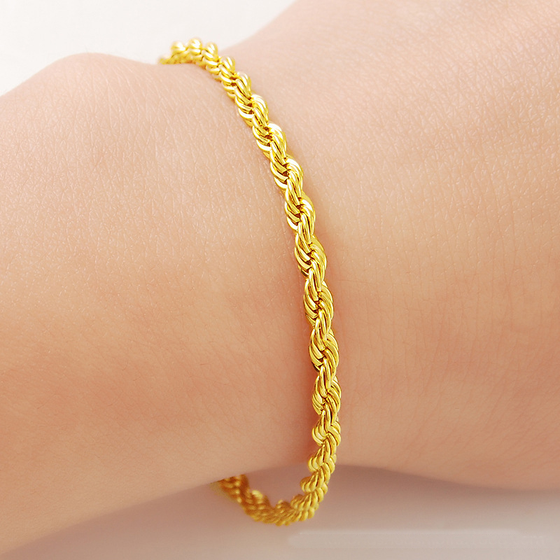 Stylish Exquisite Lady Chain <font><b>Bracelet</b></font> Jewelry Copper Material Gold Color Link <font><b>19cm</b></font> <font><b>Bracelets</b></font> Heart Jewelry For Women Gift image