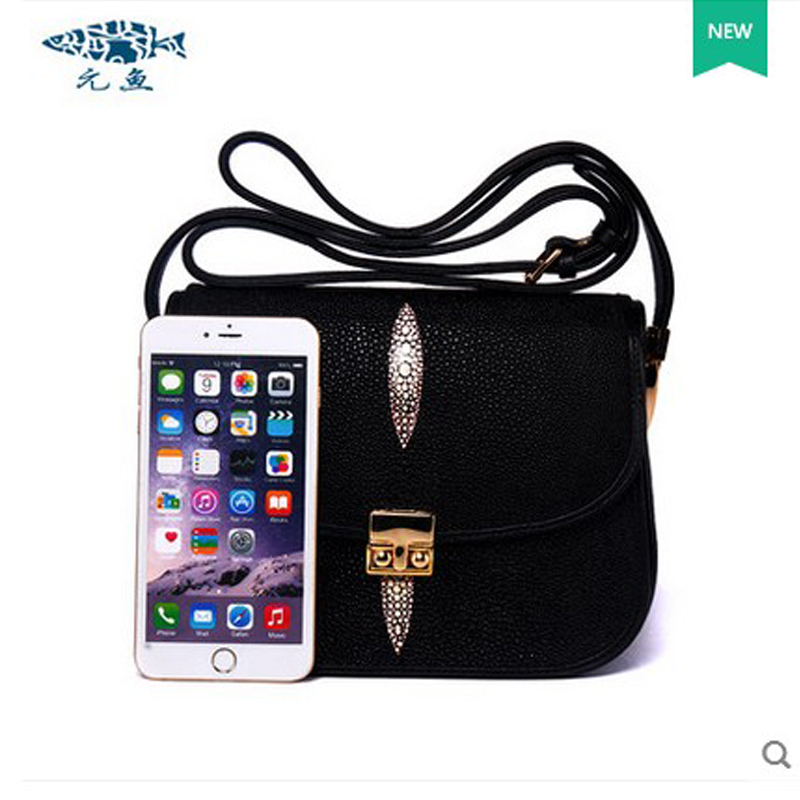 yuanyu New genuine leather zhengpin pearl fish skin single shoulder bag imported genuine leather slanting bag female package free shipping embossing letters package europe fashion genuine leather single shoulder hand his female bag