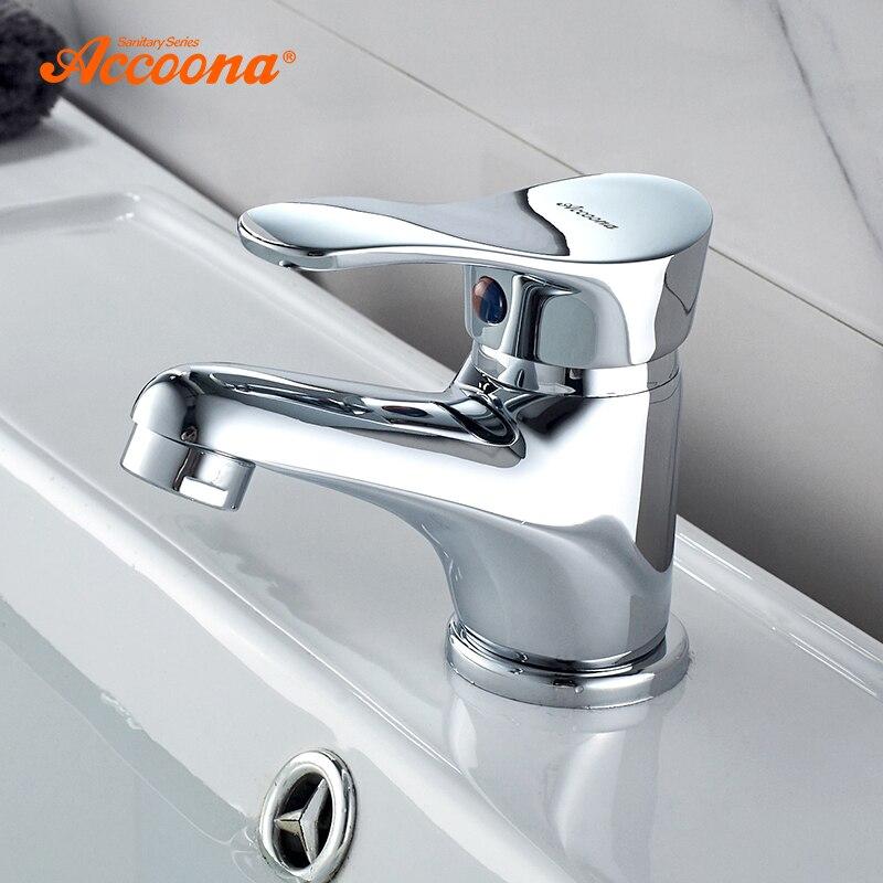Accoona Однорычажный кран для ванной комнаты хромированный полированный Твердый латунный Смеситель для раковины кран для воды смеситель для р...