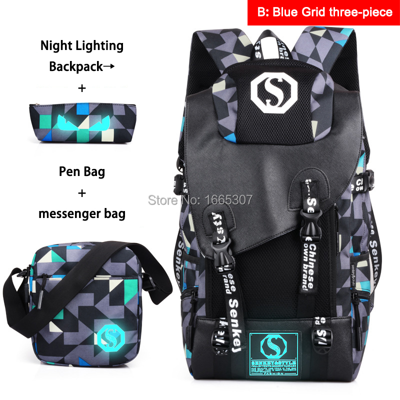 [do drop shipping]B Large Capacity Oxford Mochila Night Light Travel Couple Teenagers Backpacks with free shoulder bag + pen bag tour de france 100