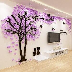 Adhesivo para pared romántico acrílico con patrón de árbol con flores creativo, decoración de pared para el hogar, pegatinas 1 uds, TV, sofá, decoraciones para fondo de pared
