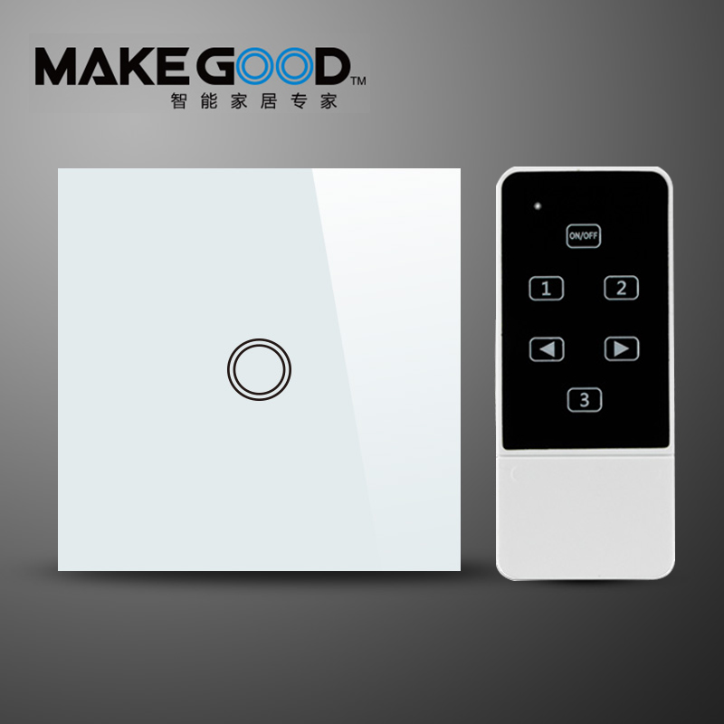 MakeGood EU Standard Crystal Glass Panel Remote Control Switch 1 Gang 1 Way RF 433Mhz Smart Home Electrical Wall Switch funry smart home light switch 1 way 1 gang remote control switch touch rf 433mhz wireless crystal glass switch eu uk