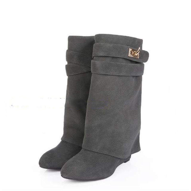 Red Green Gray Black Lock Genuine Leather Women Wedge Boots Height  Increasing Fold Over High Boot Female Martin Boots Wedges 96850f46311