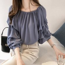Autumn Chiffon Blouse Women Puff Sleeve Sweet Korean Tops Young Loose Pleated Office Shirt Spring Blue Elegant Female Blouses sexy snake printed blouse shirt office lady puff sleeve casual shirts female elegant spring autumn blouse tops