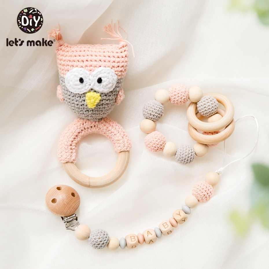 Let's Make 1pc ไม้ Teether Amigurumi เด็ก Pacifier Pacifier ผู้ถือโครเชต์ Mobile Baby Teether Woode เด็ก Rattle ของเล่น