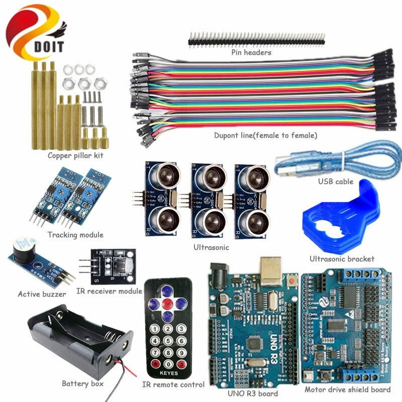 DOIT 1 Kit de commande IR avec carte UNO R3 + panneau de blindage d'entraînement moteur + suivi + évitement d'obstacles par ultrasons pour Kit de bricolage Arduino