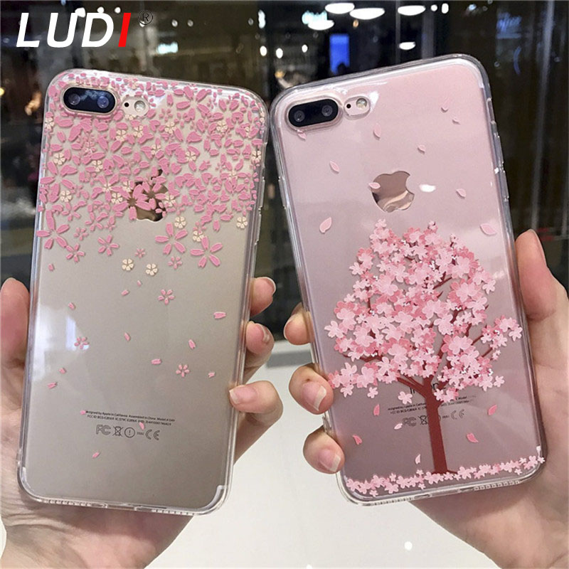 LUDI Ultra-thin Transparent Cherry Blossom Case for iPhone7plus / 6splus/6plus Soft TPU Gel Phone Case for iPhone 7 6s 6
