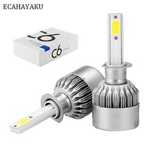 2 pcs C6 COB Car LED Headlight Bulbs 72W H1 H3 H7 H11 880 9005 9006 H4 H13 9004 9007 7200LM White 6000K Auto Headlamp Fog Lamp