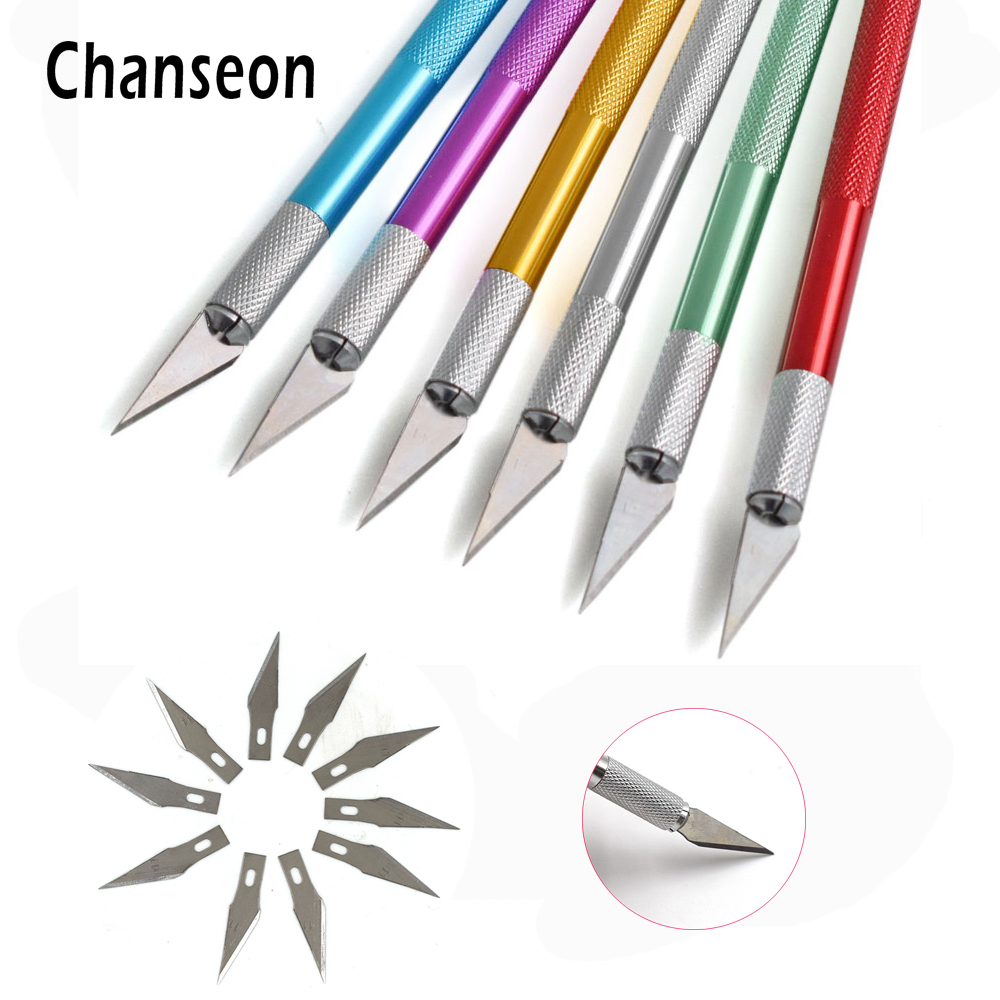 11pcs Precision Blades Hobby Knife Art Wood Carving Tools Cutter Graver For Leather PCB Repair Films Tool Nicking Pen DIY Knife newacalox 20pcs stainless steel blade for mobile phone films tools cutter crafts hobby knife diy scalpel wood carving pcb repair