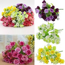 Weddingflower Amazing Gift 1 Bouquet 21 Colorful Head Artifical Fake Rose Home Weeding Party Decor Silk Flower Hot Sale(China)