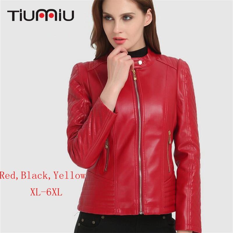 Plus Size XL-6XL   Leather   Jacket Women Sexy Autumn Winter Coat Girls Moto&Biker Faux   Leather   Coat Slim Short PU Jacket Streetwear