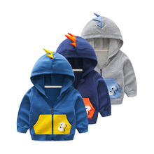 hot deal buy 2018 spring autumn children clothing outerwear & coats casual dinosaur style jackets for boys 2-7y boys hooded clothes jackets