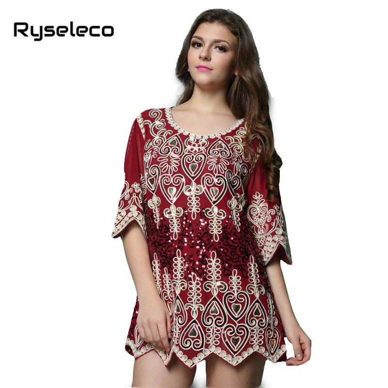 Buy Cheap New Women 2017 European Fashion Loose Plus size Vintage Retro Floral Embroidery Sequins Vestidos Ladies Party Short Mini Dresses