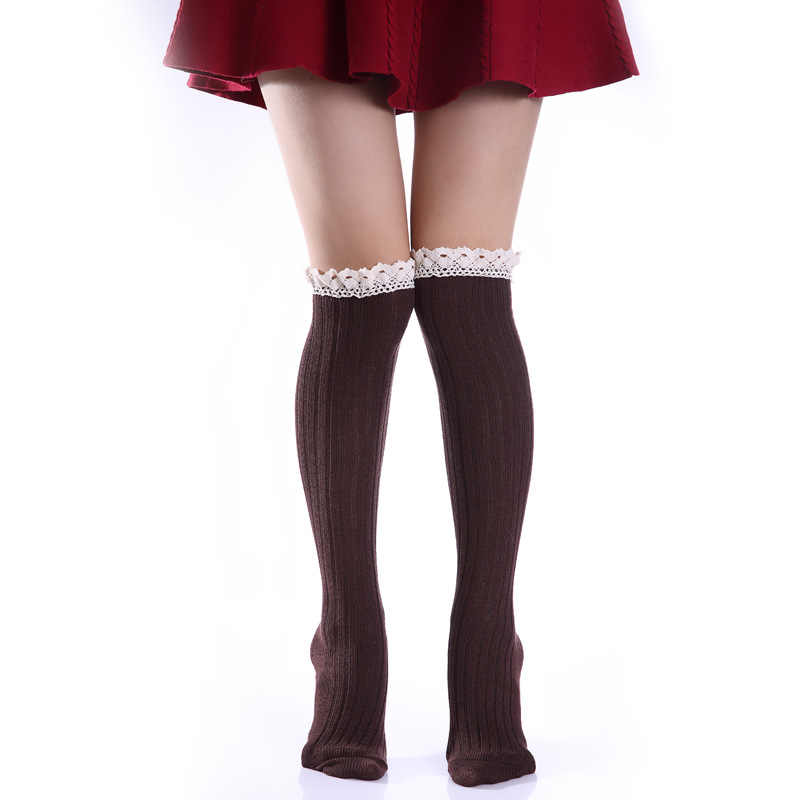 ผู้หญิงฤดูหนาวลูกไม้ขาอุ่นสง่างามกว่าเข่ายาวถักโครเชต์ Ladies Vintage Legging Chic รองเท้า