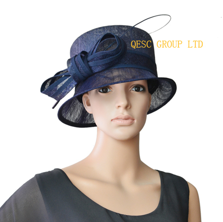 Navy blue small brim church Hat dress Hat Sinamay Hat w ostrich spine for wedding kentucky