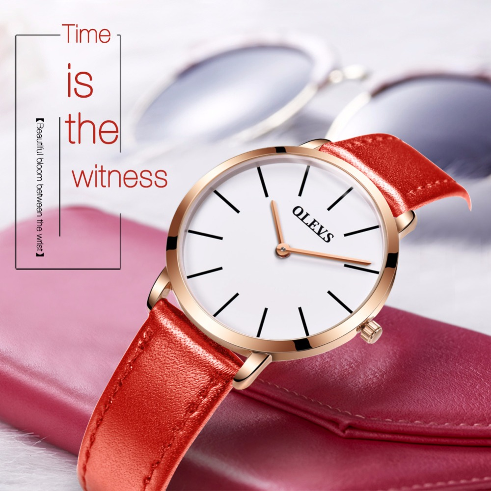 Relogio feminino Fashion Watch Women Genuine Leather Ultra thin Quartz Wrist Watch Ladies waterproof saat dropshipping S5868LP