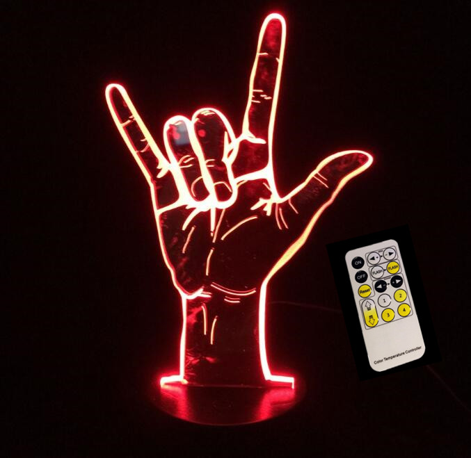 3D Acrylic USB Night Light Bedroom Creative I Love You Sign Remote/Touch Control LED Table Lamp Child Christmas Birthday Gift
