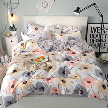 Pink yellow gray flower bed set white sheet with leaves printed super king size home bedclothes bedding cover