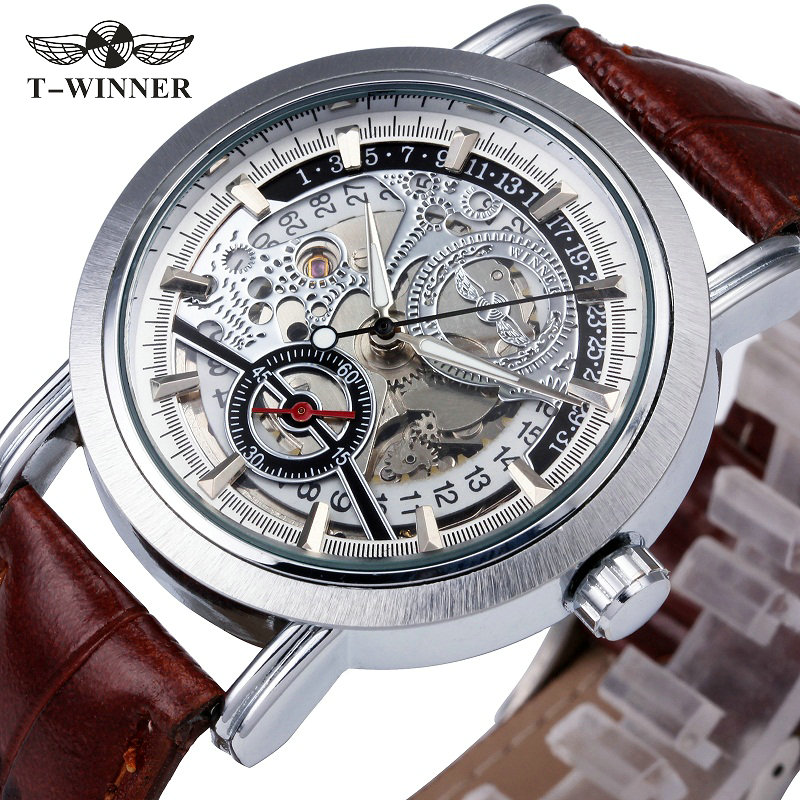 2017 WINNER Men Dress Auto Mechanical Watch Brown Leather Strap Date Display Sub-dial Skeleton Dial Fashion Design Wristwatch winner men s automatic mechanical watch stainless steel strap date calendar sub dial supersize new fashion sports design