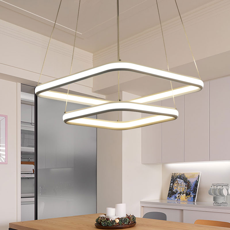 NEO Gleam High Brightness Double Glow Modern Led Pendant Hanging Lights Lamp For Kitchen Living Dinging Room Fixtures Aluminum in Pendant Lights from Lights Lighting