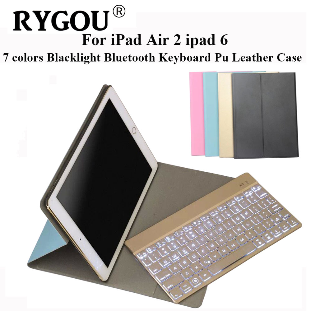 RYGOU For iPad Air 2 iPad 6 Ultrathin Folio PU Leather Case Detachable 7 Colors Backlight Backlit Wireless Bluetooth Keyboard ultrathin wireless keyboard for ipad air bluetooth keyboard with 7 colors backlight backlit magnetic rotating slot smart cover