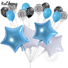 16pcs/pack 18inch White Star Foil Balloons Birthday Wedding Party 12inch Damask Latex Helium Colorful Balloon Decor Toys