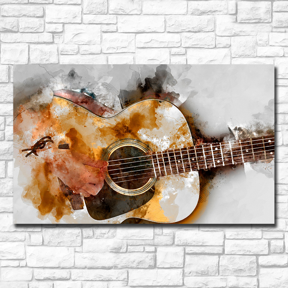 Acoustic Guitar Abstract Print on Canvas