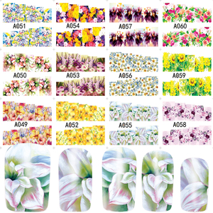Image 3 - 48pcs Hot Water Transfer Designed Nail Sticker Blossom Flower Colorful Full Tips Stamp Decals Nail Art Beauty A049 096SET
