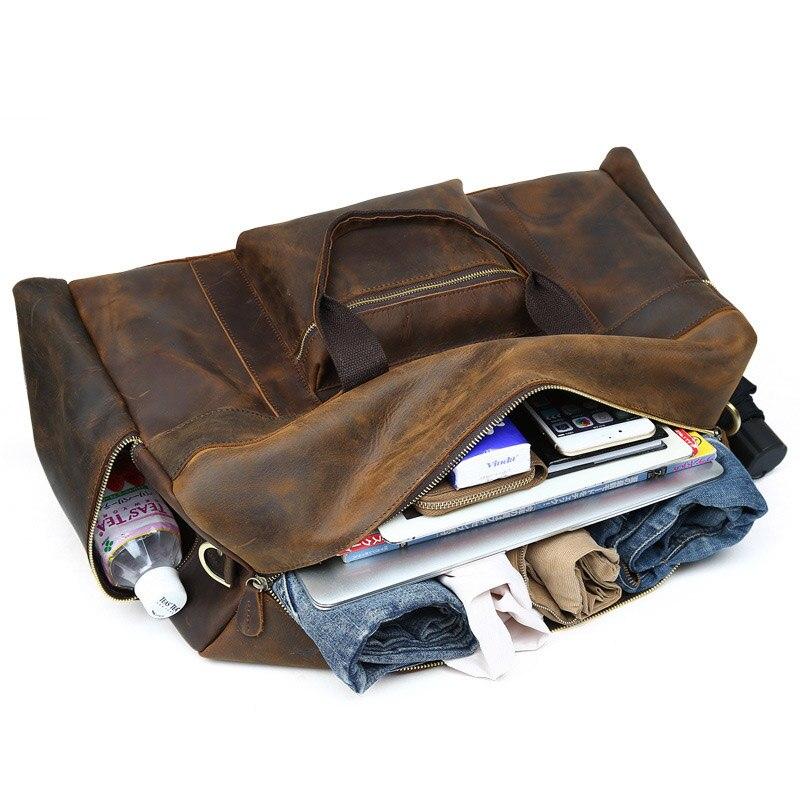 Gepäck Tasche Kapazität Leahter Reisetasche 100 Brown Dark Schultergurt coffee Seesack Crazy Niuboa Mit Echtem Qualität Männer Bag Große Leder Horse w1ff0aqz