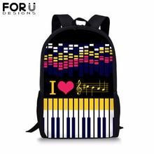 FORUDESIGNS Kpop Piano Motes Backpacks For Women Black Rucksack Fashion Teenage Girls School Bag Mochila 16 inch Book
