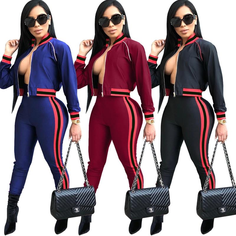Autumn 2018 Tracksuits Women 2 Piece Sets Casual Outfits Black Winter Striped Short Jacket + Elastic Pants Sweatsuit Suits S-XXL