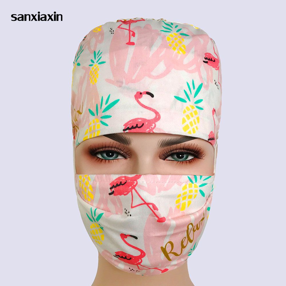Sanxianxin Unisex Cotton Breathable Print Adjustable Pet Hospital Work Hats Surgical Cap Doctor Nurse Cap Beauty Pharmacy Hat