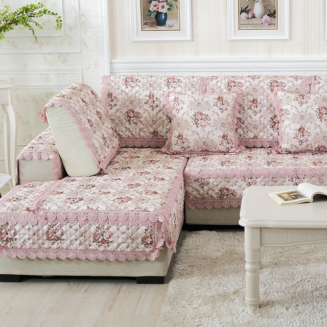Lace Printed Europe Floral Combination Kit Sectional Sofa Sofa Cover