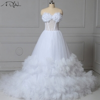 ADLN Real Photo Long Train Wedding Dresses With Flowers Custom Made Corset Bridal Gown Vestidos De