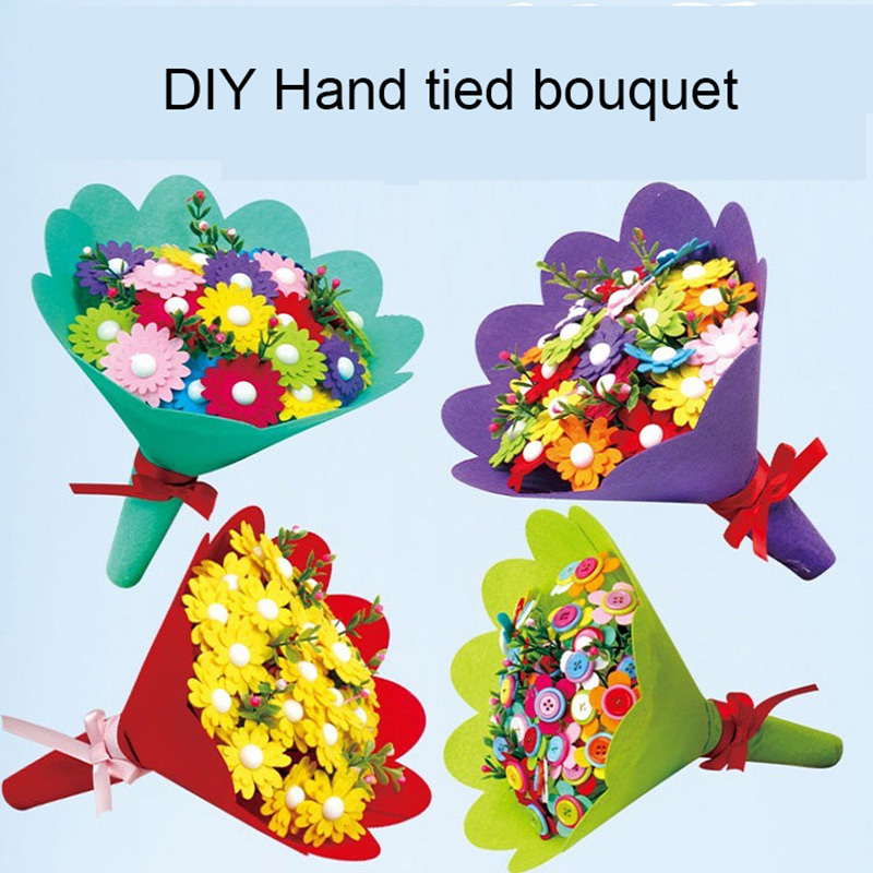 DIY Flowers Colorful Mixed Buttons Craft Felt Bouquets Kit Children Gift Decor Creative Gift