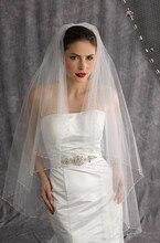 أبيض/عاجي شامبانيا 1 طبقة صناعة يدوية مطرز حافة عالية الجودة طرحة زفاف حجاب العروس اكسسوارات الزفاف Veu de Noiva