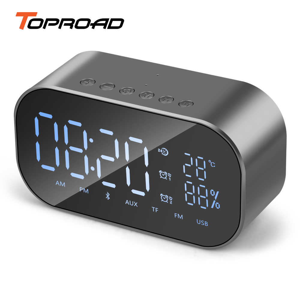 TOPROAD Clock Bluetooth Speaker Handsfree Wireless Stereo Music Player Speakers Support Temperature Display FM Radio TF Line in