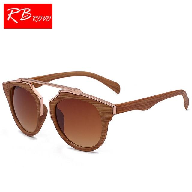 fffb65a8a094 RBROVO 2019 Vintage Imitation Wood Sunglasses Men Brand Designer Classic  Bamboo Sun Glasses For Women Driver