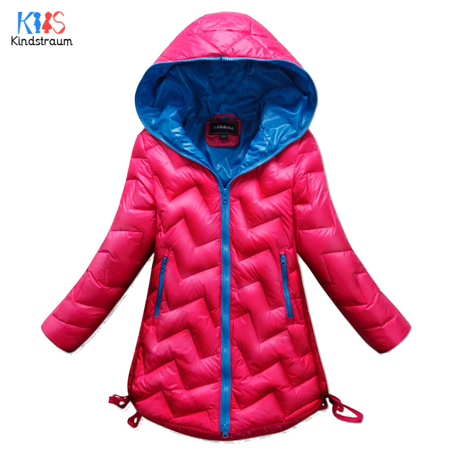 2016 New Arrival Girls Winter Solid Hooded Down Coats Kids Fashion Brand Plaid Down Jackets Children Warm Long Clothes , LC400