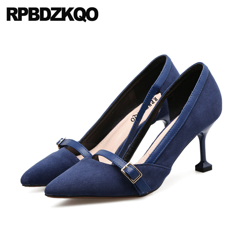 Pink 2018 Strap 3 Inch Blue Suede Shoes Women Cheap Pointed Toe Stiletto Office High Heels Fashion Size 4 34 Designer Pumps SexyPink 2018 Strap 3 Inch Blue Suede Shoes Women Cheap Pointed Toe Stiletto Office High Heels Fashion Size 4 34 Designer Pumps Sexy