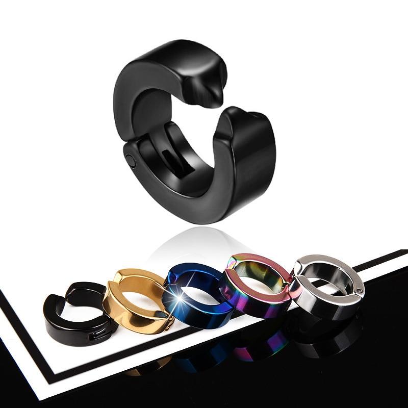 1 Pcs Women Men Ear Clip Non Piercing Earrings Fake Earrings Circle Round Earring Fashion Jewelry Street Pop Punk Rock Style(China)