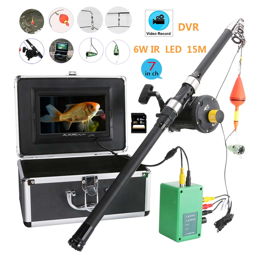 Meer rad 7 Zoll DVR Recorder 1000tvl Unterwasser Angeln Video Kamera Kit 6W LED Infrarot Lampe Fisch kamera Fisch finder