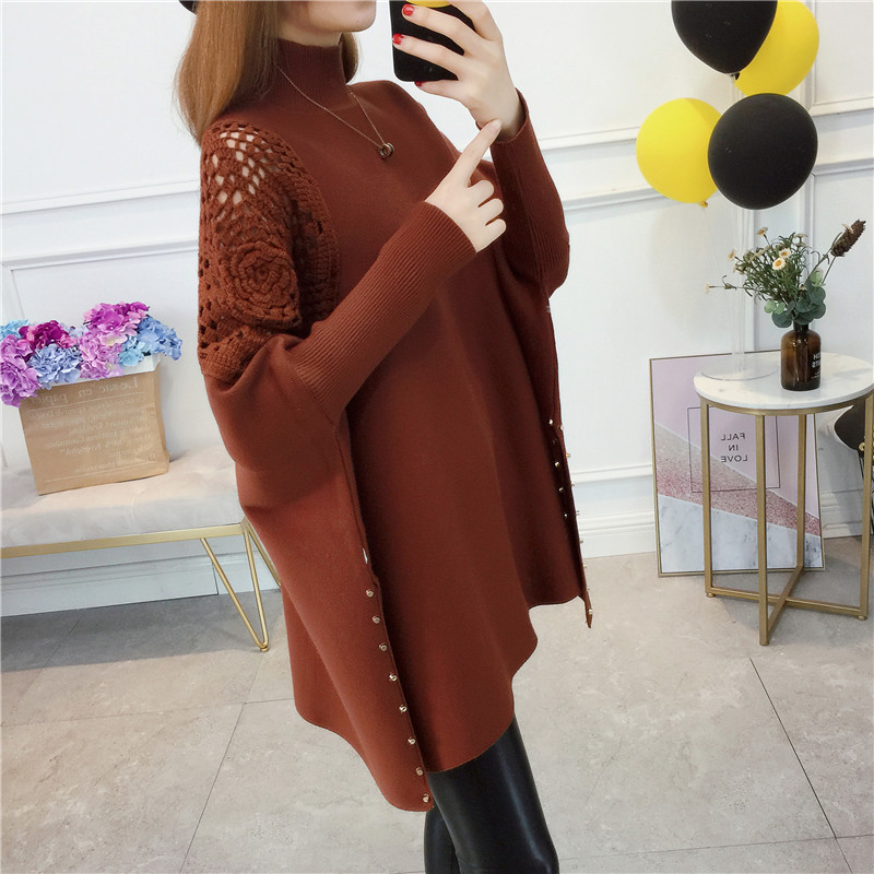 Women Pullover High Collar Sweater Winter Embroidery Fashion Sweaters 2018 New Autumn Female Loose Bat Sleeve Knit Sweater XY723 in Pullovers from Women 39 s Clothing